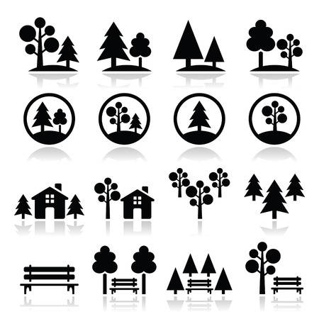 pine decoration: Trees, forest, park vector icons set