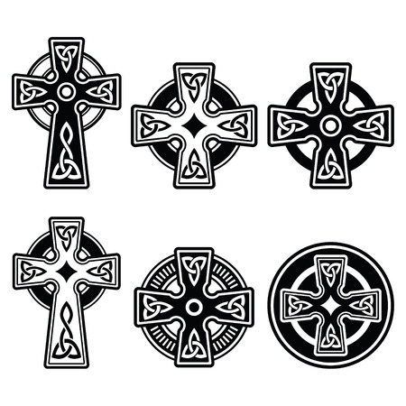 celtic culture: Irish, Scottish Celtic cross on white vector sign