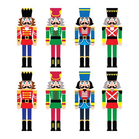 dientes caricatura: Cascanueces de Navidad - iconos de figurillas soldado ajustado Vectores