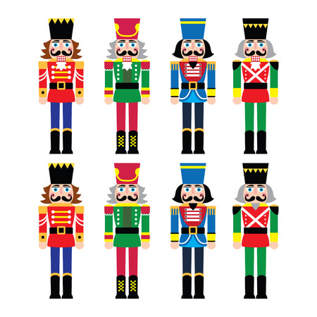 Christmas nutcracker - soldier figurine icons set Çizim