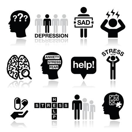 depresi�n: Depresi�n, estr�s iconos conjunto - concepto de la salud mental