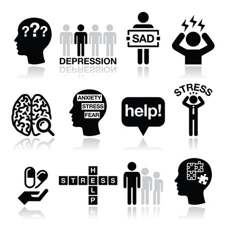 psychotherapy: Depression, stress icons set - mental health concept