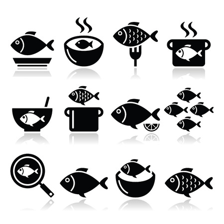 fry: Fish meals icons - soup, chowder, goulash, fried fish Illustration