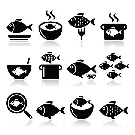 Vismaaltijden iconen - soep, chowder, goulash, gebakken vis