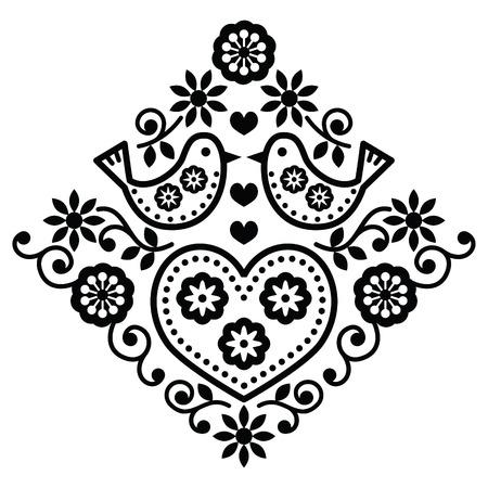 folklore: Folk art floral black vector pattern with birds