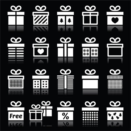 special occasion: Present, gift box white icons on black