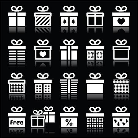 arboles blanco y negro: Presente, iconos blancos caja de regalo sobre negro