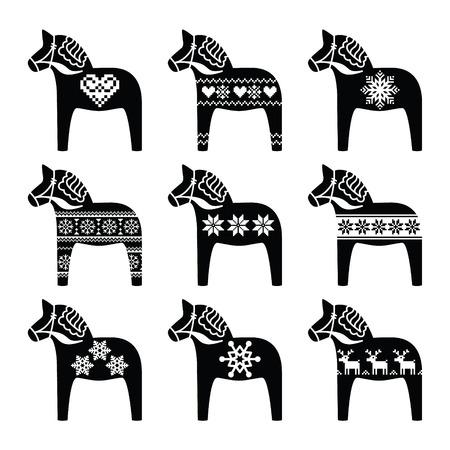 Swedish Dala, Dalecarlian horse with winter, Nordic pattern Vector