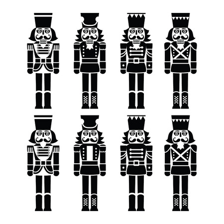 Christmas nutcracker - soldier figurine black icons set Vector