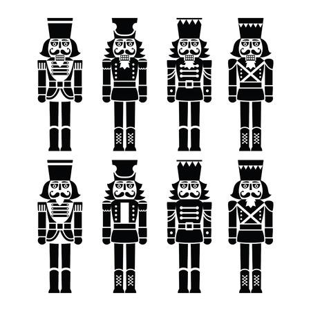 Christmas nutcracker - soldier figurine black icons set Stock Illustratie