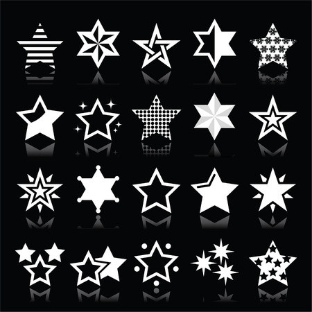 Stars white icons with reflection isolated on black Vector