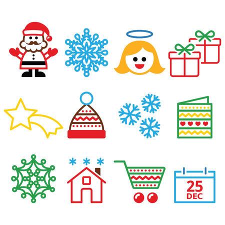aureole: Christmas, Xmas celebrate icons set