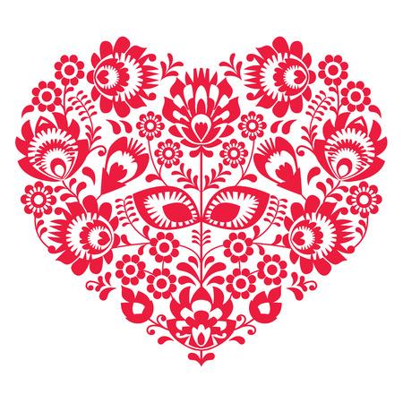 Valentijnsdag volkskunst rood hart - Poolse patroon Wzory Lowickie, Wycinanki