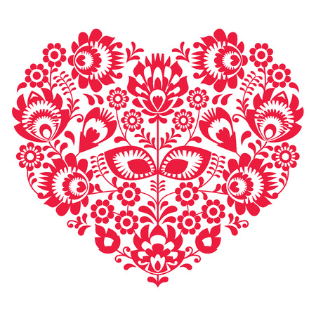Valentines Day folk art red heart - Polish pattern Wzory Lowickie, Wycinanki Vector