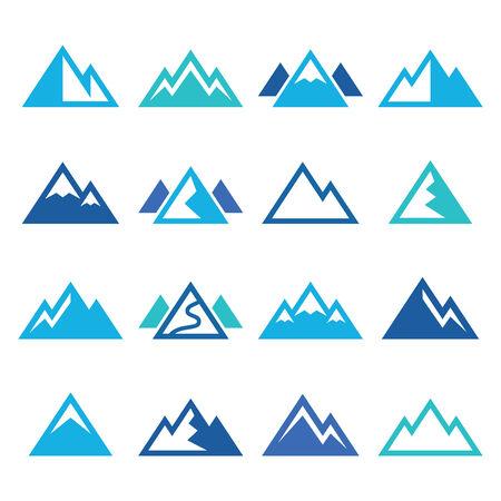 mountain peek: Mountain vector blue icons set