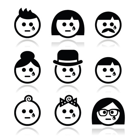 traumatic: Crying people faces - man, woman, baby icons set