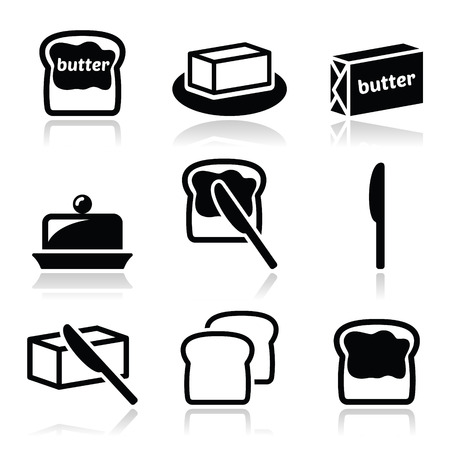 bread and butter: Butter or margarine vector icons set Illustration