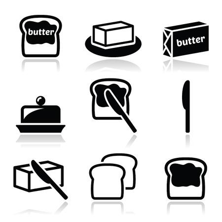 comiendo pan: Mantequilla o margarina vector iconos conjunto