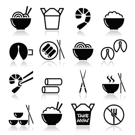 chinesisch essen: Chinesisches Essen zum Mitnehmen icons - Nudeln, Reis, Fr�hlingsrollen, Gl�ckskekse