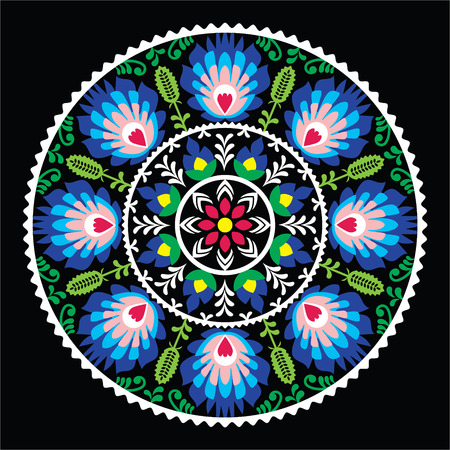 Polish traditional folk art pattern in circle -  Wzory Lowickie on black Vector