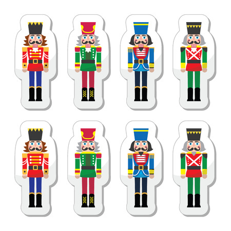 nutcracker: Christmas nutcracker - soldier figurine icons set Illustration
