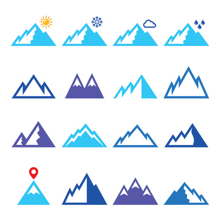 mountain peek: Mountains vector blue icons set
