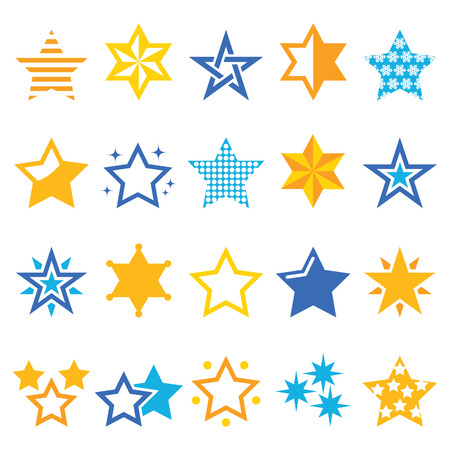 Stars gold and blue vector icons Vector