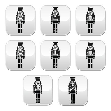 nutcracker: Christmas nutcracker - soldier figurine grey buttons set
