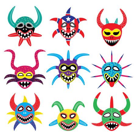 Vejigante masker voor Ponce Carnaval in Puerto Rico pictogrammen