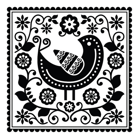 folk tales: Folk art black pattern with bird and flowers Illustration
