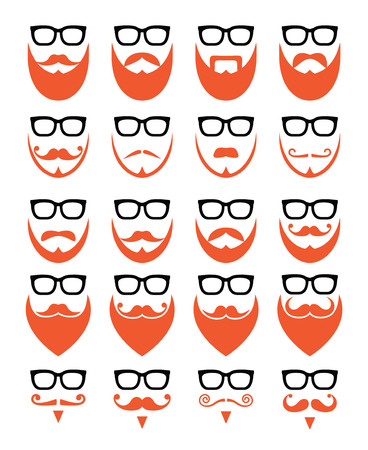 red beard: Ginger beard and glasses, hipster icons set