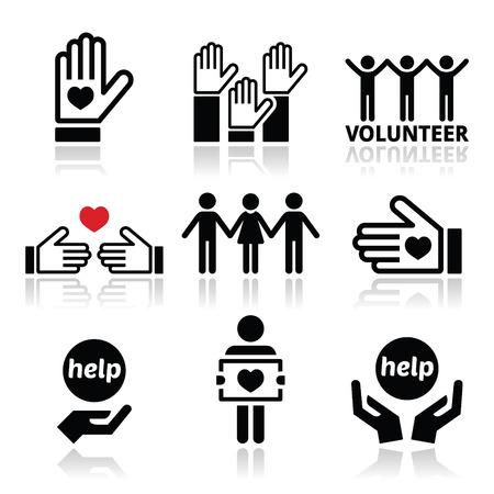 aide à la personne: Bénévoles, des gens qui aident ou donnant icônes concept mis Illustration