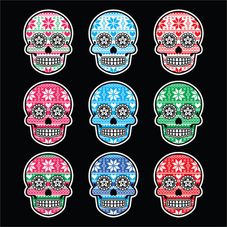 Mexican sugar skull with winter Nordic pattern on black Vector