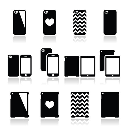 Smartphone, tablet case icons set Illustration