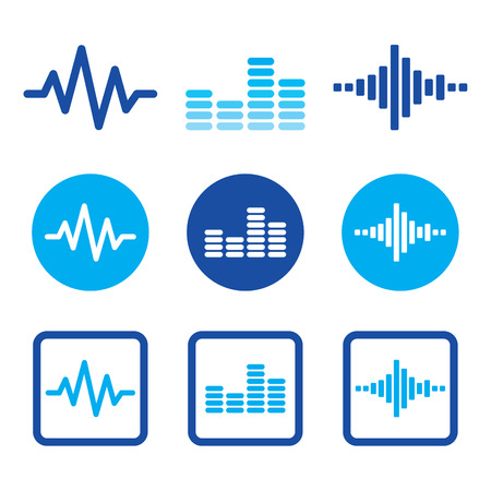 computer clubs: Sound wave music vector blue icons set