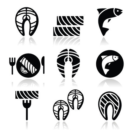 fishy: Salmon fish and meal - food icons set Illustration