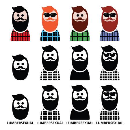 hombres negros: Hombre Lumbersexual, le�ador - iconos de tendencia de la moda establecen Vectores