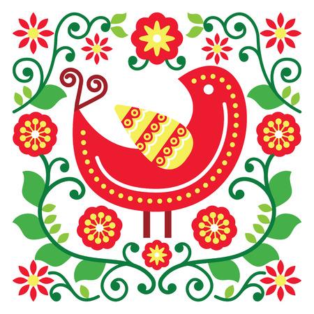 folk tales: Folk art vector pattern with bird and flowers