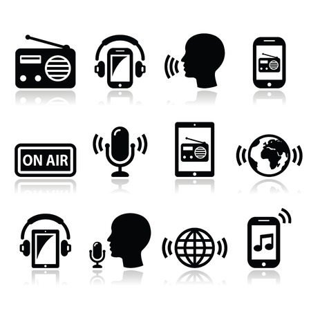 Radio, podcast app on smartphone and tablet icons set Illustration