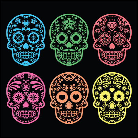 mexican cartoon: Mexican sugar skull, Dia de los Muertos icons on black