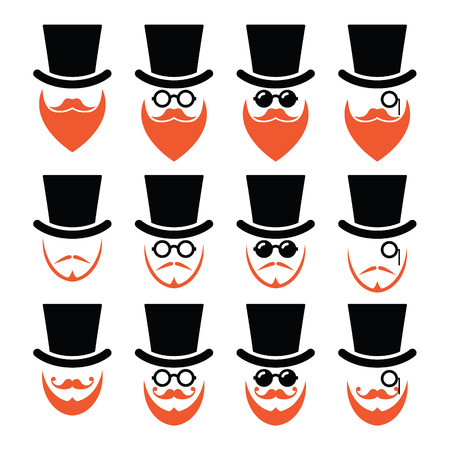 black head and moustache: Man in hat with ginger beard and glasses icons set