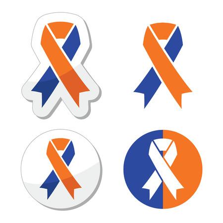socialization: Navy blue and orange ribbons - family caregivers awareness icons Illustration