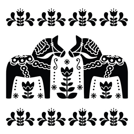 Dala de Suédois ou à cheval Daleclarian motif d'art folklorique noir et blanc