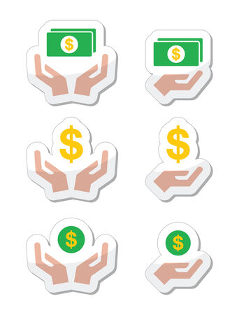 earn money: Hands with dollar banknote, coin vector icons set