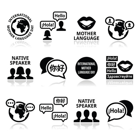 asian culture: International Mother Language Day icons set