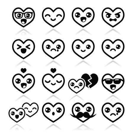asian couple: Kawaii hearts, Valentine\