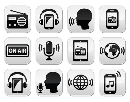 earbud: Radio, podcast app on smartphone and tablet buttons set