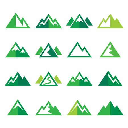 top of mountain: Mountain vector green icons set