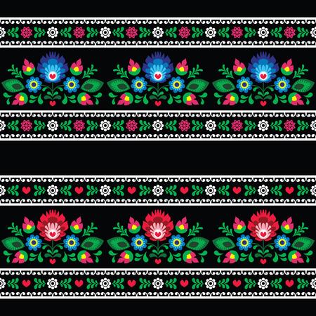 Naadloze Poolse volkskunst patroon met bloemen - wzory Lowickie op zwart