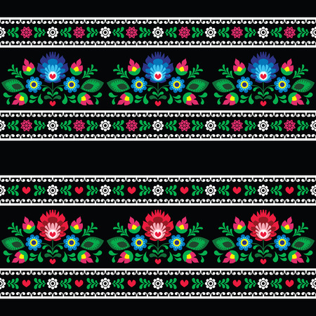 slavic: Seamless Polish folk art pattern with flowers - wzory lowickie on black